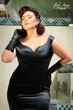 2caeda085 Final Sale - Tamara Dress in Black Stretch Silk - Plus Size Curvy Fashion