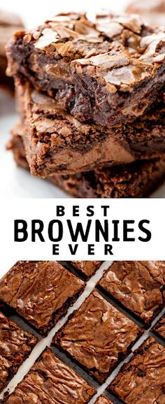 This really is the Best Brownie Recipe ever! These homemade brownies are the perfect chewy fudge squares of chocolate. You'll never buy a boxed brownie mix again! - The ingredients and how to make it please visit the website Best Dessert Recipe Ever, Best Easy Dessert Recipes, Dessert Recipes With Pictures, Light Dessert Recipes, Quick Easy Desserts, Sweets Recipes, Hot Desserts, Desserts Menu, Cheesecake Desserts
