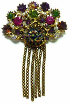 shopgoodwill.com: c1958 HOLLYCRAFT Jeweled Gold Tone Brooch Pin WoW