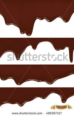 Realistic vector illustration, set of melted chocolate dripping on white background