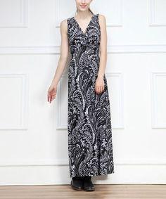 Look what I found on #zulily! Black & White Arabesque V-Neck Maxi Dress by Reborn Collection #zulilyfinds