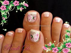 French toenails with flowers by RadiD - Nail Art Gallery by Nails Magazine Fancy Nails, Love Nails, Pretty Nails, Pretty Toes, Pedicure Designs, Toe Nail Designs, Do It Yourself Nails, Feet Nails, Wedding Nails