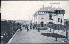 Steinkjær jernbanestation, Nord-Trøndelag. Tidlig 1900-tall. Building Front, Street View
