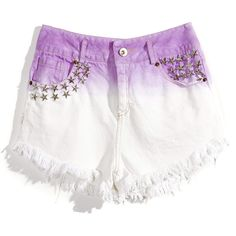 Dyed Star Cutoff Short in Lavender ($30) ❤ liked on Polyvore featuring shorts, bottoms, pants, short, embellished shorts, cut off short shorts, cut off shorts, star shorts and cut-off