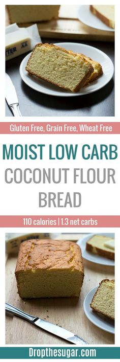 Moist Low Carb Coconut Flour Bread an easy to make low carb bread using coconut flour as the base. What's great is this is also a gluten free bread recipe that's easy to make changes to. Pin now to make later! Easy Keto Bread Recipe, Lowest Carb Bread Recipe, Low Carb Bread, Bread Recipes, Bread Carbs, Recipe Tasty, Easy Bread, Coconut Flour Bread, Coconut Flour Recipes