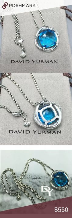 DAVID YURMAN 14 MM BLUE TOPAZ INFINITY NECKLACE 18 DAVID YURMAN 925 STERLING SILVER 14 MM BLUE TOPAZ INFINITY PENDANT NECKLACE 18''.                                                                FROM DAVID YURMAN INFINITY COLLECTION Jewelry Type: NECKLACE  Condition: Pre-Owned (Excellent! Look Like New!) Metal: 925 Sterling Silver GEMSTONE: BLUE TOPAZ 14 mm X 14 mm  LENGTH: 18'' INCHES Hallmarked: (c) D.Y. 925   Comes with D.Y Pouch David Yurman Jewelry Necklaces