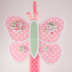 Hair Bow Holder Hair Clip Holder Fabric Butterfly with by GirlieQs, $20.00