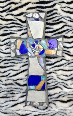 Mosaic stained glass cross