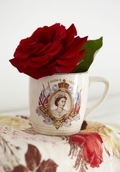 Queen Elizabeth coronation cup with roses