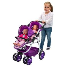 Babyboo Deluxe Twin Doll Pram Stroller With Free Carriage
