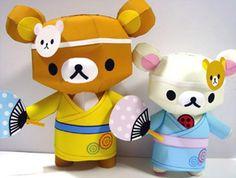 PAPERMAU: Rilakkuma And Friend With Yukata Suit Paper Model - by Kumarila