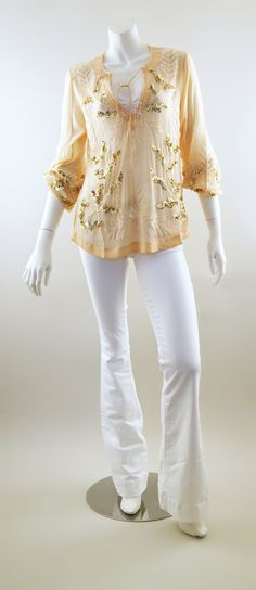 Karina Grimaldi Blossom Beaded Top