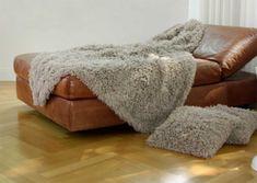 Frontansicht von Plaid Tibetlamm in Taupe Kitt Bean Bag Chair, Taupe, Ottoman, Plaid, Blanket, Bed, Design, Furniture, Home Decor