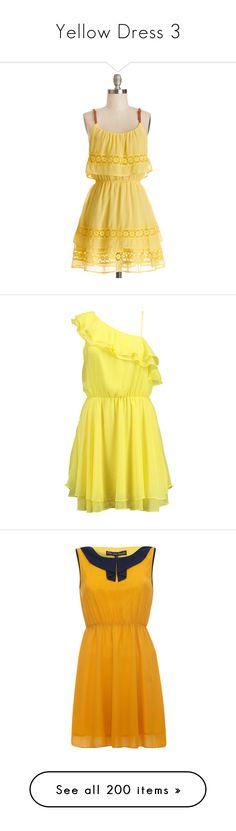 """Yellow Dress 3"" by sunnofcreationn ❤ liked on Polyvore featuring dresses, modcloth, vestidos, yellow, apparel, fashion dress, short dresses, boho dresses, sleeveless wrap dress and yellow sundress"