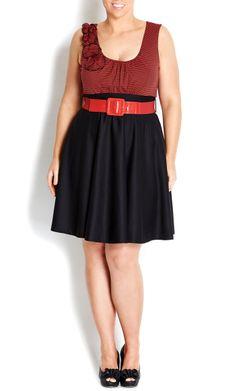 City Chic - RED & BLACK SAILOR SKATER DRESS - Women's plus size fashion #citychic #citychiconline #sweetsteals #plussize
