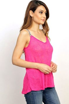 Semi sheer, knit, fuchsia, V-neck, criss-cross back, strappy details tank top.