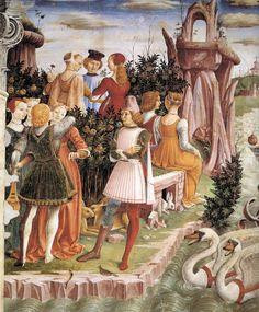 1476-84, Italy, Ferrara. Francesco del Cossa, Allegory of April: Triumph of Venus (detail).