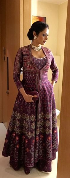 The gorgeous Sridevi looks divine in EpicLove AnitaDongre and Pinkcity by Anita Dongre jewellery Women jacket over women traditional suit Long jacket over suit Anarkali Dress, Pakistani Dresses, Indian Dresses, Indian Outfits, Lehenga, Kurta Designs, Blouse Designs, Indian Designer Outfits, Designer Dresses
