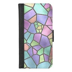 Artistic Nouveau Deco Stained Glass Pattern iPhone 8/7 Wallet Case - faux gifts style sample design cyo