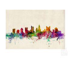 Columbus, Ohio, skyline water color (print by Michael Tompsett at Art.com)