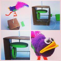 Craft ideas for kids: Simple bird automaton (www.hodgepodgecraft.com, mechanical sculpture, moving bird machine made from a cardboard box, straw, skewers and foam sheet)