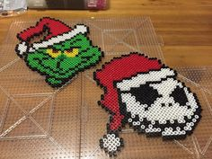 Perler bead ornaments featuring The Grinch and Jack Skellington from the Nightmare before Christmas