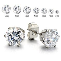 3-9 Mm Mens Ladies White Cubic Zirconia Stud Earrings Stainless Steel, 2pcs * More info @ http://www.amazon.com/gp/product/B00WJHZT1W/?tag=splendidjewelry07-20&pxy=200716014411