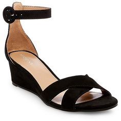 Women's Izabella Wedge Pumps with Ankle Straps - Black 5.5