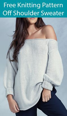 Free Knitting Pattern for Off Shoulder Sweater - Long sleeved pullover with off the shoulder neckline. Sizes XS(S,M,L,XL, XXL). Designed by Quail Studio Off Shoulder Sweater, Off Shoulder Tops, Knitting Patterns Free, Free Knitting, Kawaii Diy, Single Crochet Stitch, Knit In The Round, Red Heart Yarn, Sweater Design