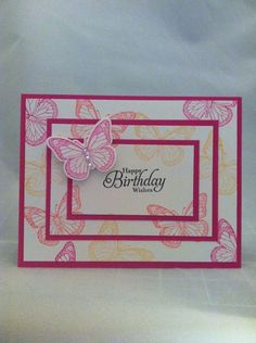 """Card Kit Set Of 4 Stampin Up Backyard Basics Butterfly """"Happy Birthday Wishes"""" #StampinUp"""