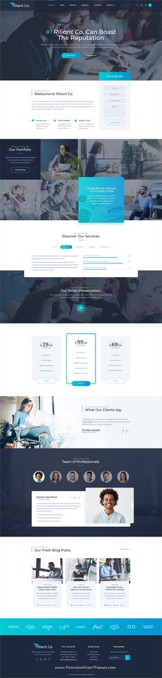 Riliant is clean and modern design #PSD #template for commercial, #business and enterprise #company website with 25 layered PSD pages to download & live preview click on image or Visit
