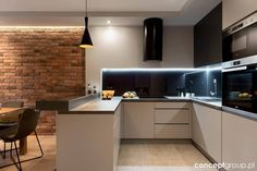 Dom w Rudzie Śląskiej - Realizacja - Duża otwarta kuchnia . Interior Design Business, Interior Design Kitchen, Living Room Kitchen, Kitchen Decor, Style At Home, Sweet Home, Minimalist House Design, Contemporary Kitchen Design, Best Kitchen Designs