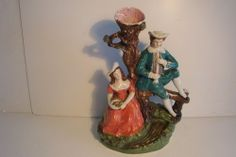"""Large Antique 19th cent Staffordshire Figurines Statue Spill Vase - 12 1/2"""" H."""