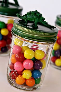 Dinosaur Treat Jar Kids Birthday Party Favors....would be super cute with little monster trucks!