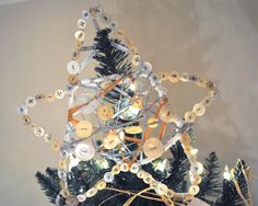 Star tree topper - fabric-wrapped wire, embellished with buttons