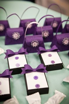 These cute little wedding/shower favours caught my eye. I especially like the tuxedos. Made with the Petite Purse die and Matchbox dies from Stampin' Up.