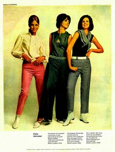1965 DIY Fashion, McCall's Patterns, Pants Unlimited, Three Pretty 60's Models