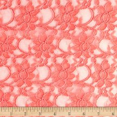 Xanna Floral Lace Fabric Coral from @fabricdotcom  Delicate and classic, this lace fabric has finished scalloped edges on each side. It is sheer, lightweight and has a  20% mechanical stretch across the grain for comfort and ease. This lace fabric is appropriate for lingerie, overlays on skirts or dresses, feminine apparel accents, and wraps or shrugs.