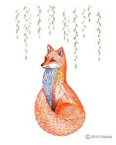 Sakura fox // SALE 3 for 2 // spring animal art print by TevaKiwi