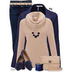 """Tan and Navy"" by lmm2nd on Polyvore"