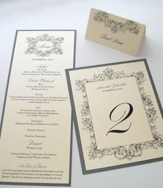Ava Vintage Wedding Reception Stationery in Ivory and Pewter Grey by EmbellishedPaperie on Etsy.  www.embellishedpaperie.com