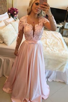 2016 Long Sleeves Scoop Prom Dresses A Line Satin With Applique And Beads US$ 189.99 VUP5C9PXRC - VoguesPromDress.com