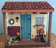 Southwest Scene in Miniature Vitrine Miniature, Miniature Rooms, Miniature Crafts, Miniature Fairy Gardens, Miniature Houses, Girls Dollhouse, Diy Dollhouse, Dollhouse Furniture, Dollhouse Miniatures