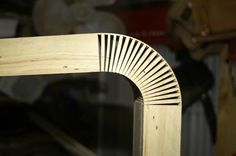 Here's a traditional wood-bending technique that seems ready-made for CNC millers, and yet I can't find much online evidence that it's being done. To make a kerf-bend, the wood is first corrugated ...