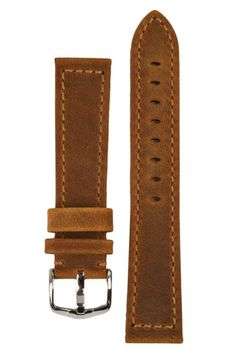 Hirsch TERRA Tuscan Leather Watch Strap in GOLD BROWN | HirschStraps