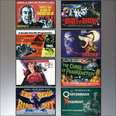 Hammer Horror Film Poster Fridge Magnets Set of 8 by BvdBDesign
