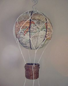MAP fabric hot air balloon  Nursery Decor Children by vikey1778