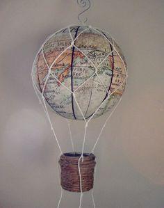 MAP fabric hot air balloon Nursery Decor Children by vikey1778