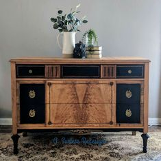 """Zibra """"One of a Kind"""" Furniture Refinishing Contests: The People's Choice! Chest Of Drawers Makeover, Restoring Old Furniture, Old Chest, Walnut Dresser, Top Drawer, Milk Paint, Woman Painting, Restoration, Cabinet"""