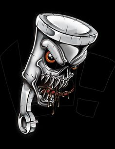 Piston Head by LandonLArmstrong on DeviantArt Car Tattoos, Skull Tattoos, Body Art Tattoos, Motorcycle Art, Bike Art, Graffiti Drawing, Graffiti Art, Piston Tattoo, Pinstripe Art
